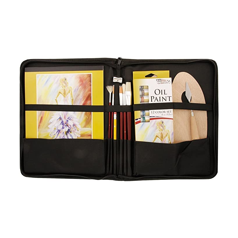 US Art Supply 23 Piece Oil Painting Set with Zippered Portfolio Case