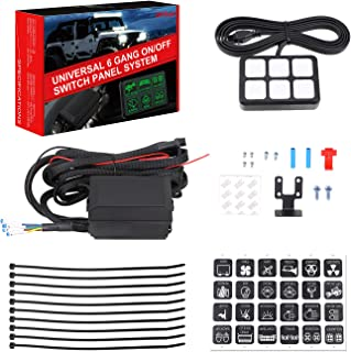 6 Gang Switch Panel, SWATOW 4x4 Universal On/Off LED Switch Panel Relay System Circuit Control Box Touch Switch Box for Car Auto Truck Marine Boat Jeep ATV UTV