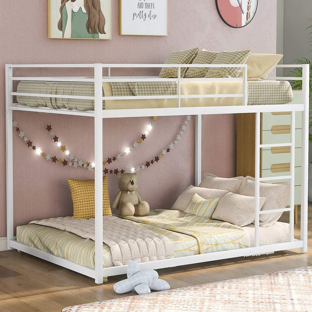 Buy Metal Bunk Bed Full Over Full Bunk Bed Frame Heavy Duty Space Saving Design Easy Assembly With Safety Guard Rails Side Ladder For Adults Children Teens Low Bunk Bed White Online In Turkey B08z7fmqr6