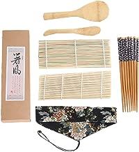 BESTONZON 7Pcs Bamboo Sushi Making Kit Sushi Maker Rolling Mat Nigiri Dishes Rice Spoon Bamboo Sticks to Make Your Own Gift for Beginners