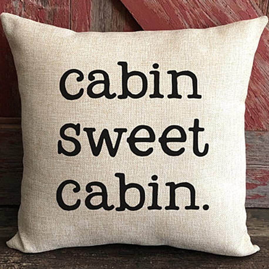 FaceYee Cushion Covers 18x18 Cabin Sweet Pillows Covers for Couch Lake House Decor Rustic Cabin Farmhouse North Woods Decor Pillowcase Decorative Two Side Linen Color:3