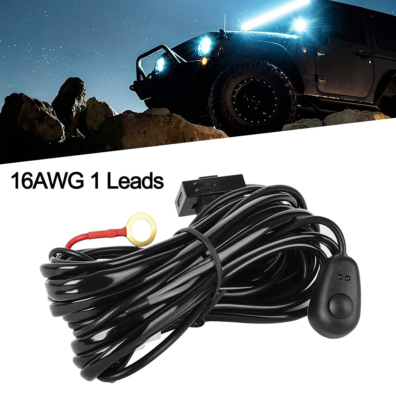 LED Light Bar Wiring Harness Kit 16AWG 12V On Off Switch Power 40A Relay Blade Fuse for Off Road Lights LED Work Light,2 years Warranty (1 Lead)