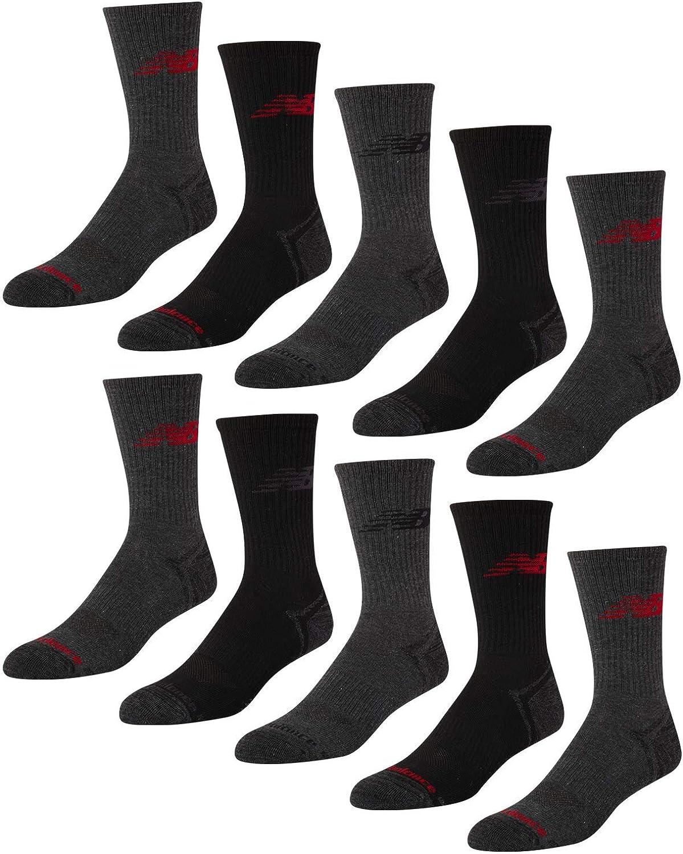 New Balance Men's Athletic Arch Compression Cushion Comfort Crew Socks (10 Pack)