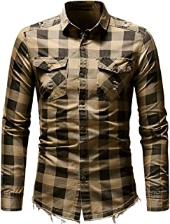 Men's Plaid Button Pocket Slim Fit Short/Long Sleeve Shirt