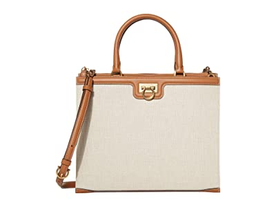 Salvatore Ferragamo Gancio Square Canvas Satchel (Sella/Naturale) Handbags