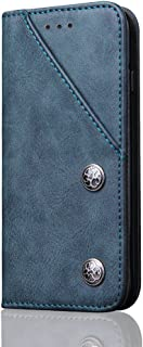 Case Cover for iPhone 8/7 4.7inch,Blue PU Leather Kickstand 360 Protection with Retro Front Card Slot and Metal Buttons Flip Shell 2 Card Slot (ID Card, Credit Card) Holder Protector for Girls Boys