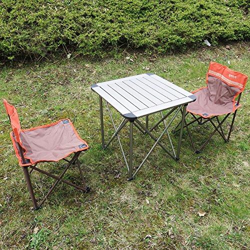 Himalaya Campingmöbel 3-Set Campingtisch Klapptisch Campingstuhl Faltstuhl für Kinder/Jugendliche - braun