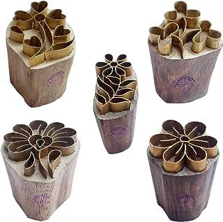 طوابع طباعة خشبية من النحاس الوردي الملكي (مجموعة من 5) - طين DIY، مكعبات فخار BHtag0016
