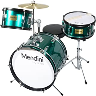 Mendini by Cecilio 16 inch 3-Piece Kids/Junior Drum Set with Adjustable Throne, Cymbal, Pedal & Drumsticks, Metallic Green, MJDS-3-GN
