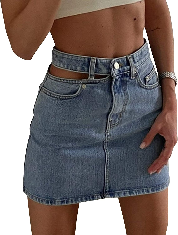 Women's Classic High-Waist Denim Skirt A-line Denim Mini Skirt Waist-Side Hollow-Out Denim Skirt Slim-fit Denim Skirt