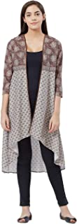 Fusion Beats Women Blended Viscose Brown All Over Print Open Front Shrug