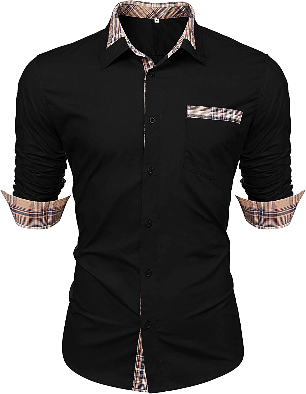 LecGee Men's Cotton Casual Long Sleeve Dress Shirt Plaid Collar Regular Fit Button Down Shirts