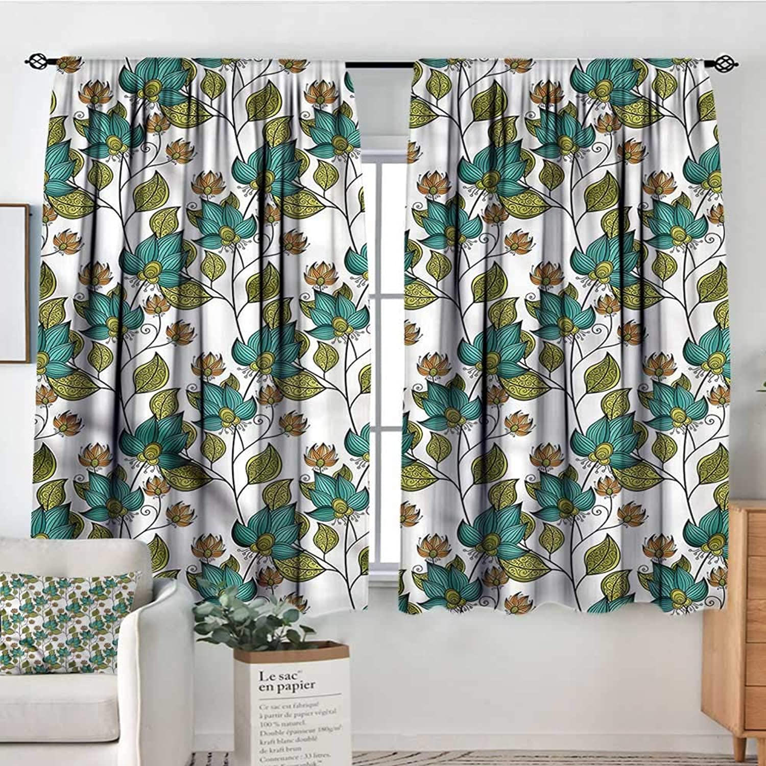 Leaf,Printed Backout Curtains Ornate Oriental Floral 42 X72  Nursery and Kids Bedroom Curtain