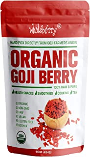 Wholeberry Organic Goji Berries 16 oz | Raw, Vegan, Gluten Free Super Snack | High in Plant Based Protein, Dietary Fiber, Vitamin A & Iron | Premier Berries for Eating, Trail Mixes, Cereals,Smoothies
