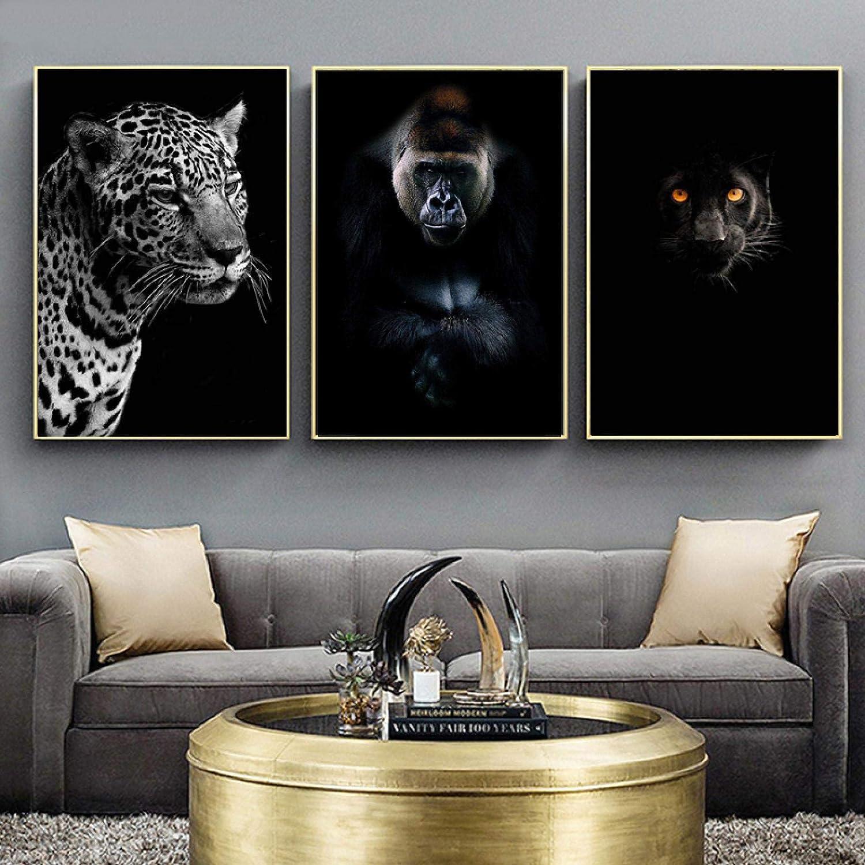 Leopard Orangutan Classic Black White Animal Paintings P Canvas Art Wall Rare
