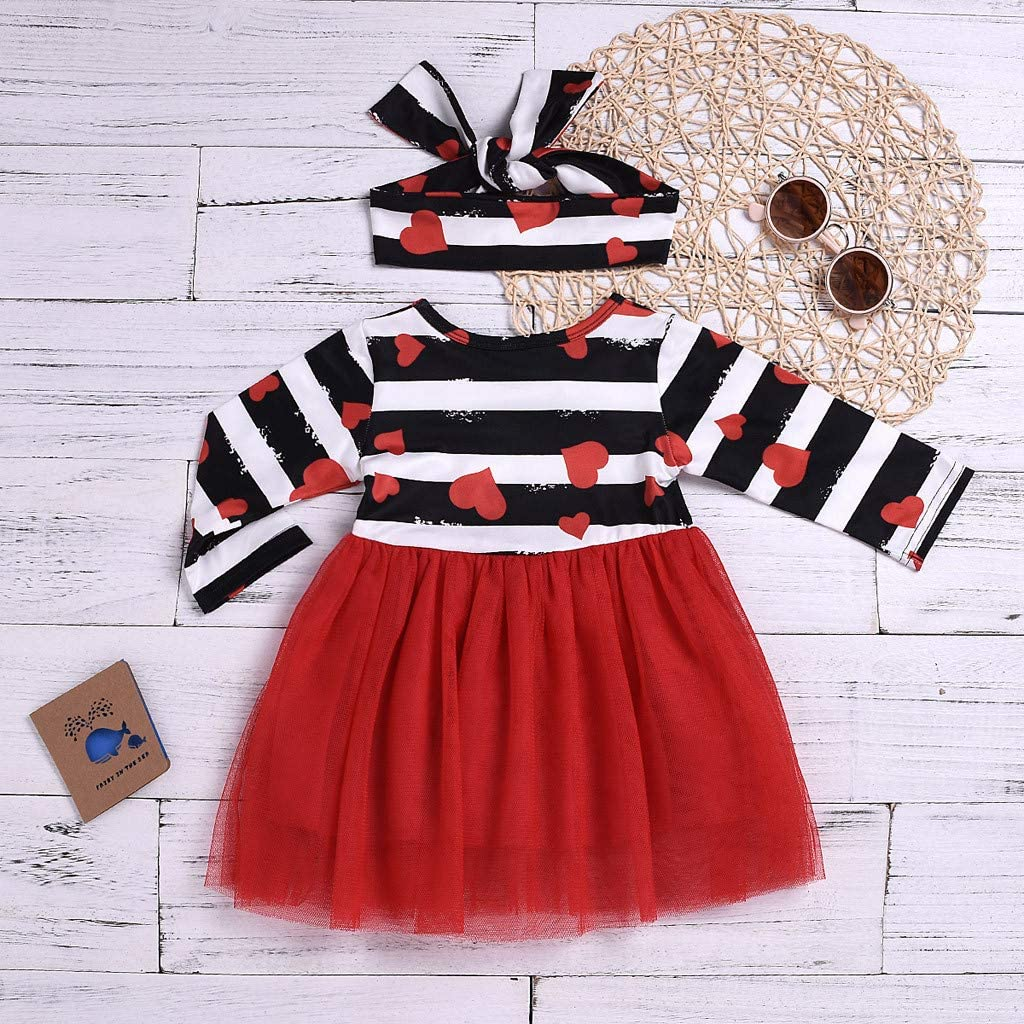 Infant Baby Valentine s Day Outfits,Fineser Girls Stripe Heart Print Tutu Tulle Bowknot Princess Dress+Headband Set