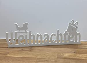 Lichtwerker Schriftzug Weihnachten mit Schlitten in Weiss frei stellbar