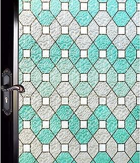 DUOFIRE Decorative Film Privacy Window Film Stained Glass Film No Glue Anti-UV Removable Window Cling Non-Adhesive Window Privacy Film D95011, (35.4in. x 118in.) 90cm x 300cm