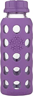 Lifefactory 9-Ounce BPA-Free Glass Baby Bottle with Flat Cap and Protective Silicone Sleeve, Grape