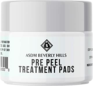ASDM Beverly Hills Pre Peel Pads 40 Treatments, Medical Strength AHA Chemical Peel Skin Preparation Serum, Reduce Acne Scars Pores, Pigmentation, Wrinkle, Discoloration, Increase Collagen, Anti-Aging