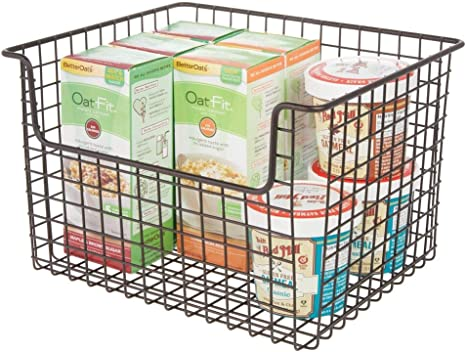 Amazon Com Mdesign Metal Kitchen Pantry Food Storage Organizer Basket Bin Farmhouse Grid Design With Open Front For Cabinets Cupboards Shelves Holds Potatoes Onions Fruit 12 Wide Bronze Home Kitchen