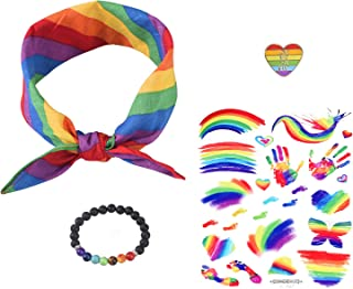 Gay Pride Accessories Bundle with Chakra Aromatherapy Bracelet, Rainbow Bandana, Heart Flag Enamel Pin and LGBTQ Body Paint Stickers for Parades or Decorations