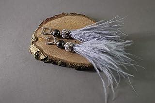 Handmade, Fatti a mano Orecchini Regali con corona e piuma di struzzo naturale