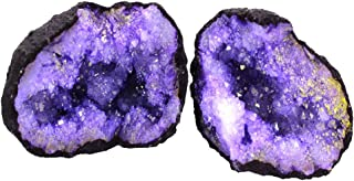 1 (ONE) Break Your Own Geode - Color Dyed Druzy Geodes - Gorgeous Display Piece Rock Paradise Exclusive COA (Purple)
