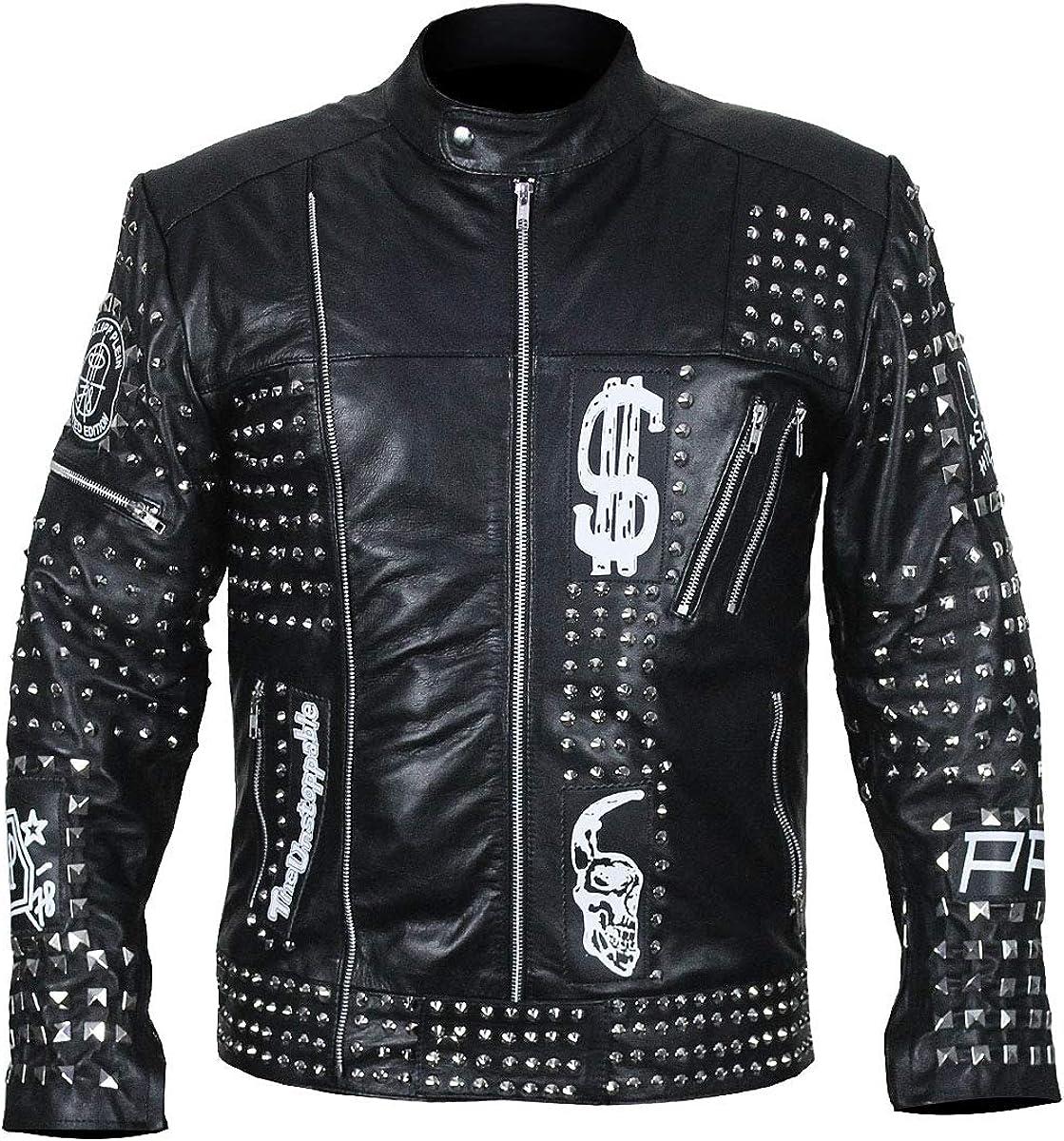 Mens Punk Rowdy Metal Rock Studded Biker Black Motorcycle Leather Jacket