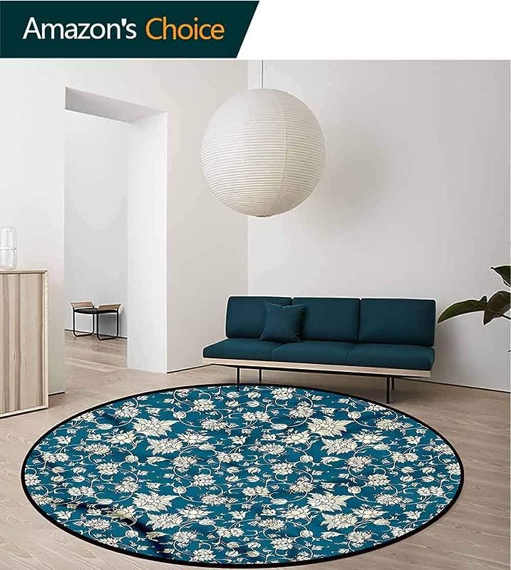 RUGSMAT Chinese Round Area Rug Carpet Floral Scroll Vintage Non Slip No Shedding Kitchen Soft Floor Mat Diameter 59