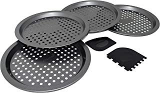 PreOkupied 4-Pack of 8.5 Inch Personal Perforated Pizza Pans, Dark Gray Carbon Steel with Nonstick Coating, Including 2 Black Pan Scrapers