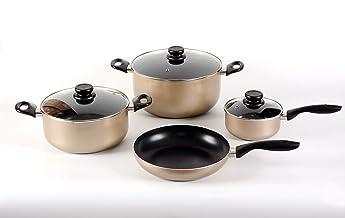 Alberto Cookware Set, Non Stick, Ceramic, Gold, 7 Pieces