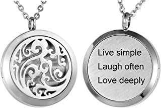 Aromatherapy Essential Oil Diffuser Necklace - Stainless Steel Message Pendant Locket Jewelry,12 Refill Pads