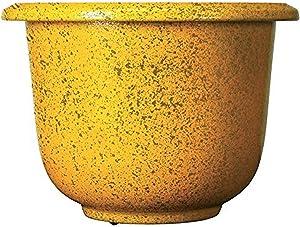 Novelty Round Glazetone Planter, 12-Inch, Marigold