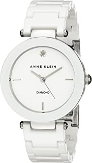 Anne Klein Women's AK/1019WTWT Diamond-Accented Watch with Ceramic Bracelet