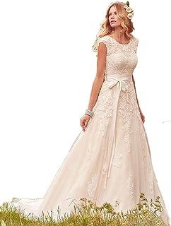 JCdress Simple Elegant Lace Wedding Dress Modesty Sleeve Bohemia Wedding Beach Wedding Party Dress