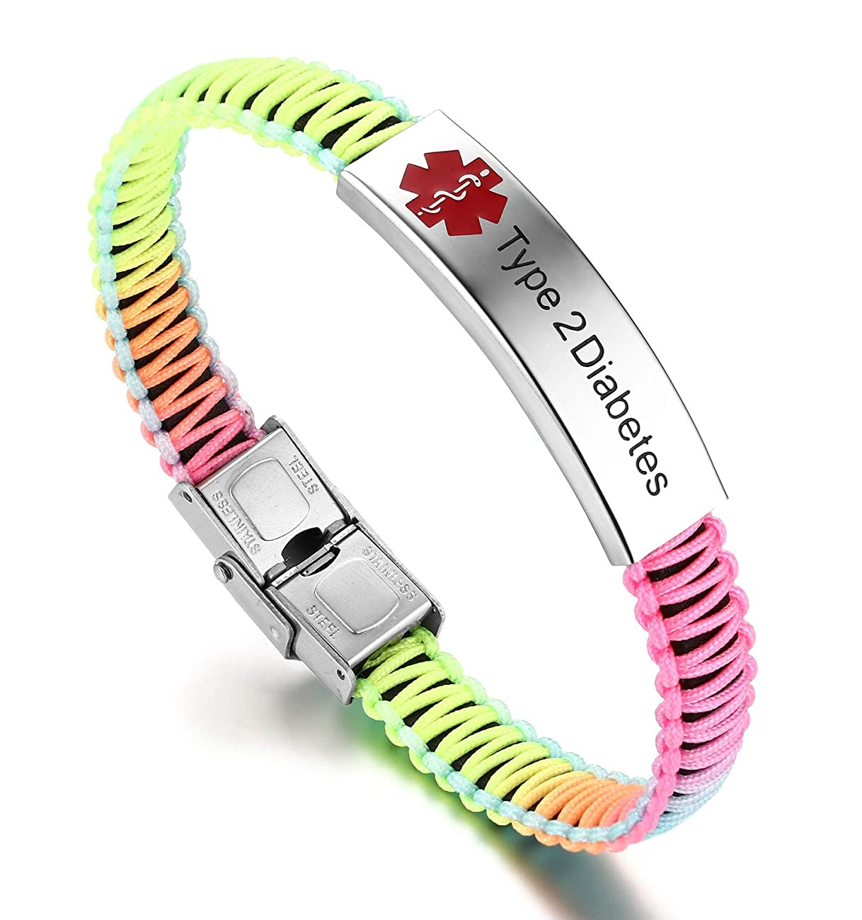 JF.JEWELRY Type 2 Diabetes Medical ID Alert Bracelet for Women Rainbow Nylon Braid Bracelet Adjustable