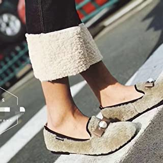 9ポイントカシミヤジーンズヨーロッパの駅の秋と冬のファッション新しいハイウエストブーツのズボン ガールズ (Color : 白, Size : M)