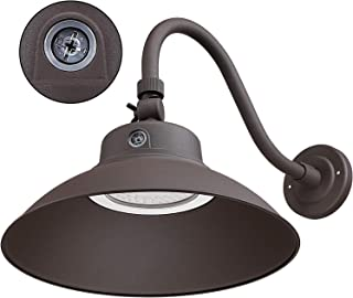 LEONLITE LED 14Inches Gooseneck Barn Light, 42W 5000K Wet Location Rated, Photocell Included Swivel Head Dusk to Dawn Outdoor Wall Light, ETL & Energy Star Certified, 5 Years Warranty-Brown