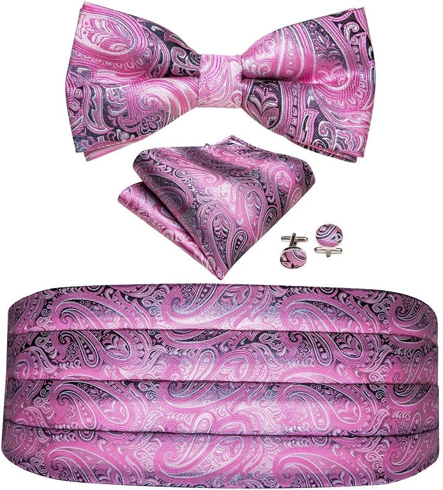 JJZXC Men's Cummerbunds Silk Floral Bow Tie Set Pocket Square Cufflink Formal Tuxedo Suit Accessories (Color : C, Size : One size)