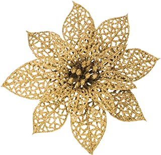 SUPLA 24 Pack Christmas Gold Glitter Poinsettia Flowers Picks Christmas Tree Ornaments 5.9
