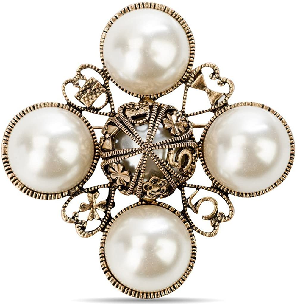 Fashion Jewelry Designer Faux Imitation Pearl Statement Brooch pin for Women