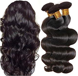 Brazilian Hair Bundles Body Wave Hair Weave 3 Bundles 100% Unprocessed Virgin Brazilian Body Wavy Human Hair Natural Black...