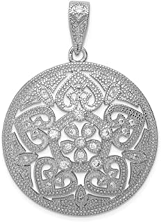 FB Jewels Solid 925 Sterling Silver Polished Cubic Zirconia CZ Cro925 Sterling Silver Pendant