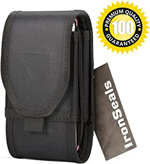 IronSeals Double Capacity Smartphone Holster, Molle Tactical Pouch Compact EDC Utility Gadget Waist Bag with Belt Clip for iPhone 11 Pro Max XSmax XR XS X 8+/7+, Samsung S9 S8+ S8 S7 Note9 and Other