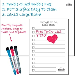 Magnetic Whiteboard for Refrigerator - Blank Magnetic Dry Erase Whiteboard - Fridge Magnet Whiteboard - With 3 Magnetic Pens and To-Do List