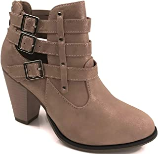 Forever Shoes Womens Camila-62 Short Ankle Riding Boots Chunky Heel Three Buckled Strap