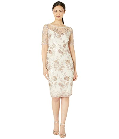 Adrianna Papell Embroidered Cocktail Dress with Sequins (Quartz) Women