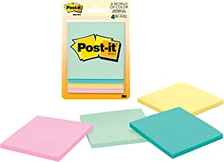 """Post-it Notes Super Sticky Pad 3"""" x 3"""" 4 Pads Assorted Pastel"""