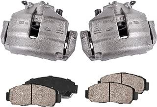 CCK11290 [2] FRONT Premium Loaded OE Caliper Assembly Set + Quiet Low Dust Ceramic Brake Pads + Sensors